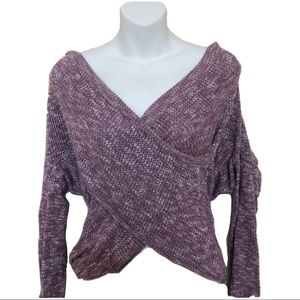Express Purple Front Wrap Tunic Knit Sweater Top
